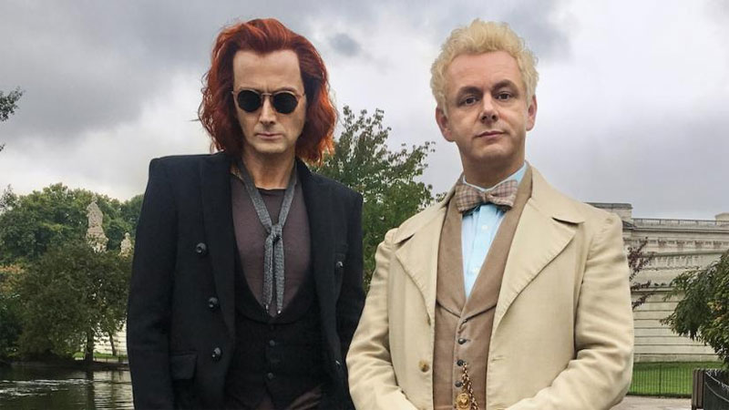 "David Tennant and Michael Sheen in ""Good Omens."""