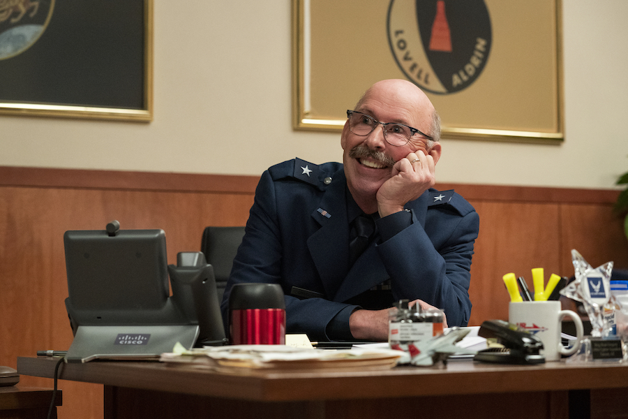 Don Lake as a bright spot in SPACE FORCE; Photo credit: Aaron Epstein/Netflix